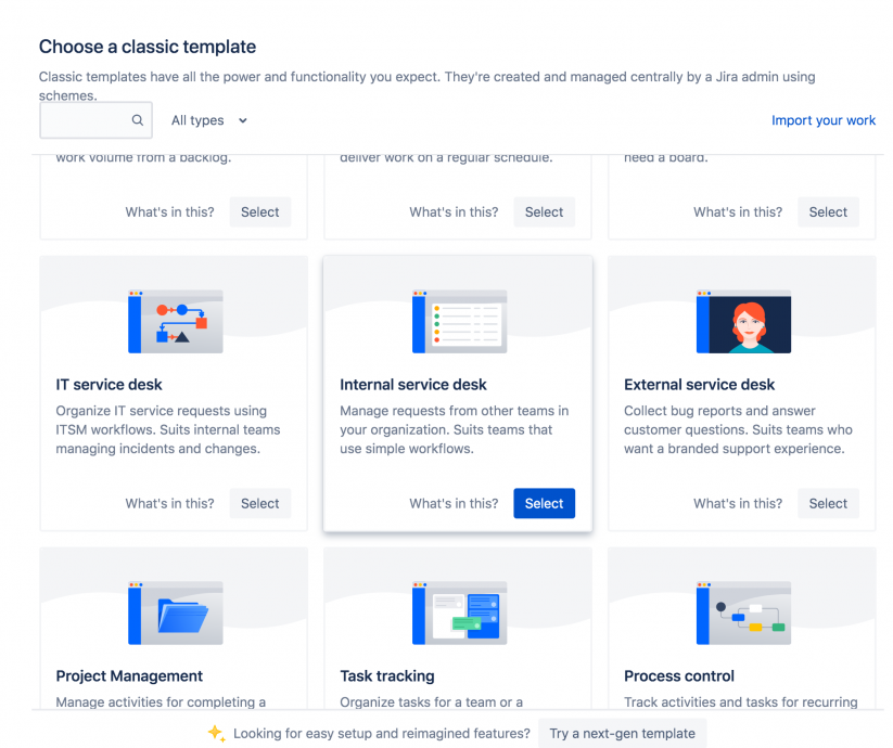 Jira Service Management new project templates