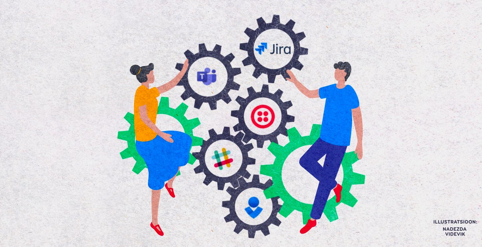 A man and a woman visualizing different Jira Automation integration options with other tools