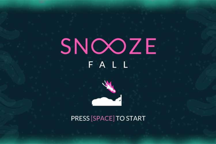 Illustration of Snooze Fall: girl is flying towards her bed in a dream