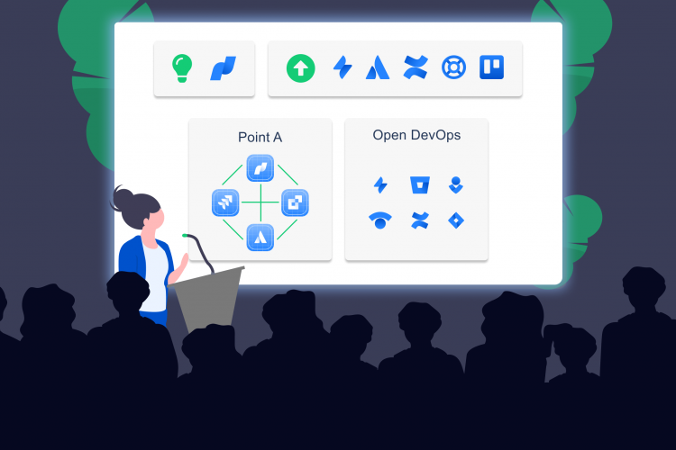Illustration of a woman introducing to the audience Atlassian's Point A program and Open DevOps experience
