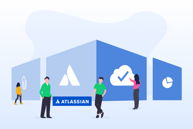 People standing in front of elements with the Atlassian logo