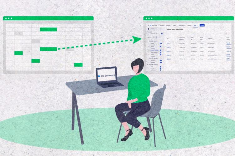 An illustration of a woman behind a table visualizing how to migrate data from Excel to Insight.