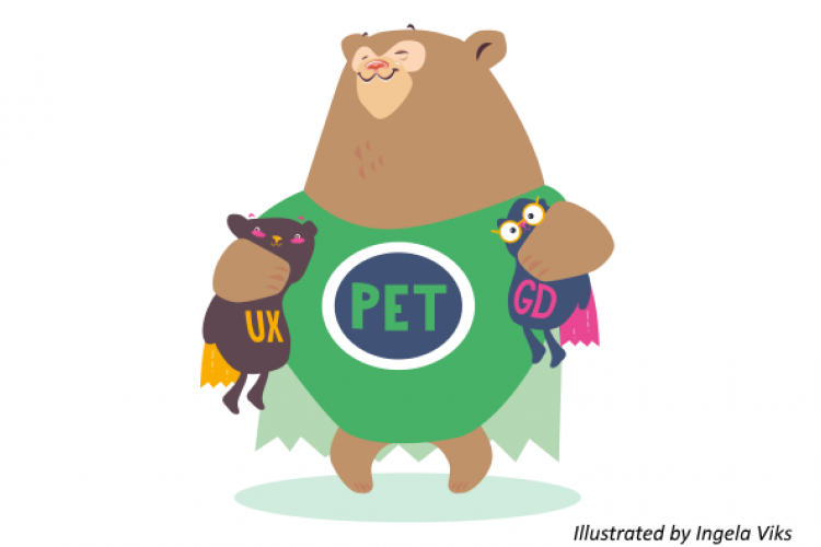PET-design bear is hugging UX and Graphical Design