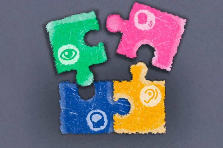 Red, Oink, Blue and yellow puzzle pieces
